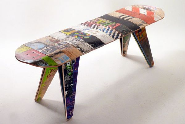 Colorful New Old Skateboards Bench