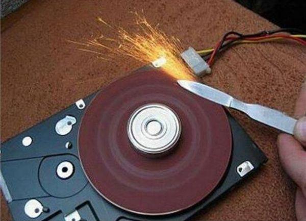 Hard drive grinder or sander