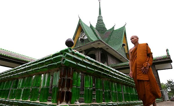 Thai Temple made of recyled bottles