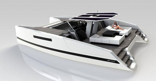 オープンデッキのカタマラン船: ...