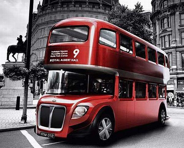 A modern green concept bus