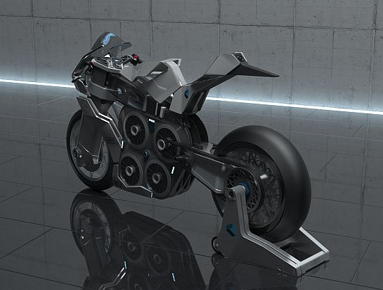 AER concept racing motorcycle is powered by four electric motors