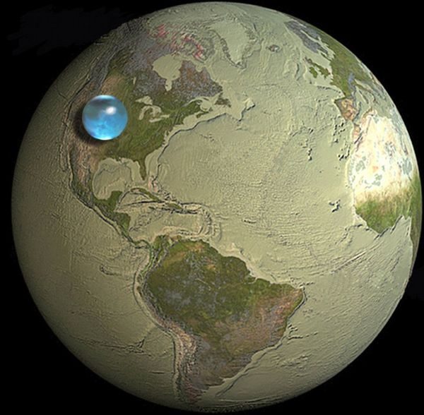 All of Earth's Water in a Single Sphere