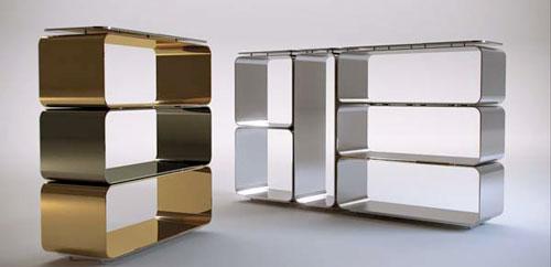 Art Deco type aluminum shelves