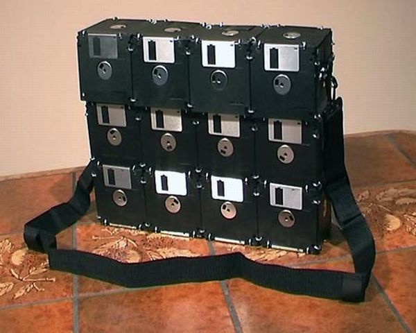 Bag made from old floppy disks