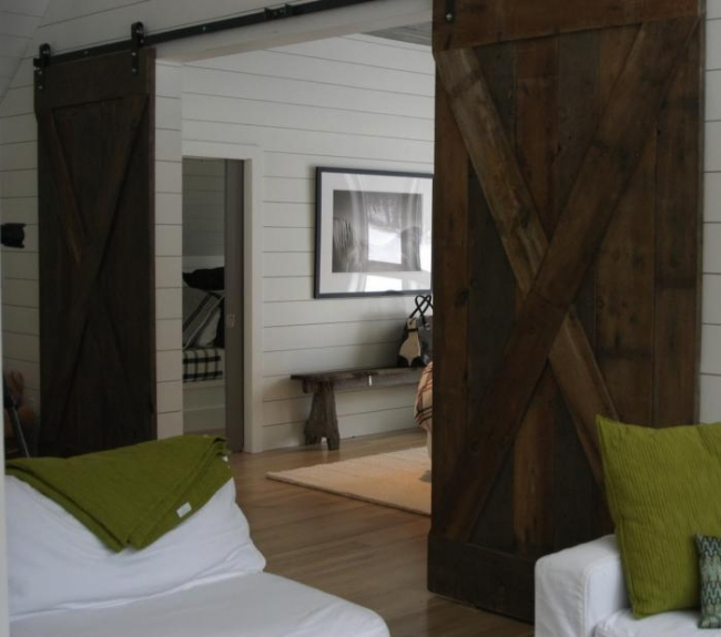 Barn Doors: Add wood to it and make it look richer and eco friendly