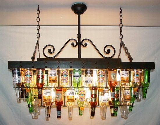A two tier recycled beer bottle chandelier for your pool table a two tier recycled beer bottle chandelier for your pool table aloadofball Choice Image