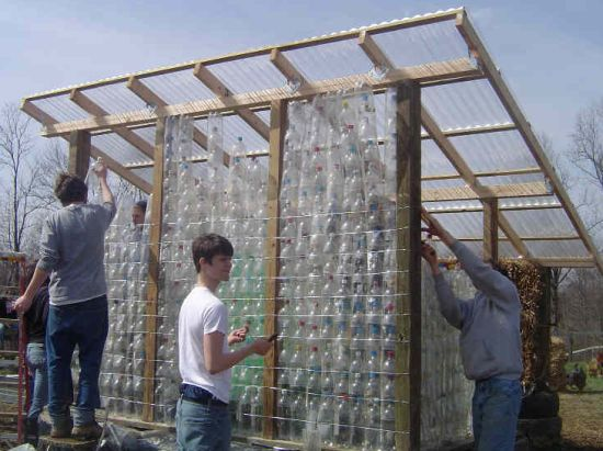 Blue rock station builds greenhouse out of recycled for What is a greenhouse made out of