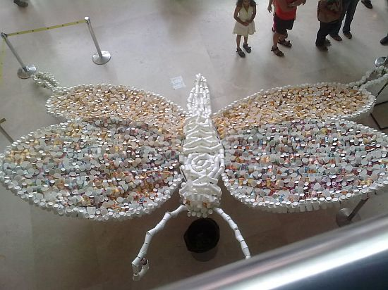butterfly sculpture created from paper cups 1