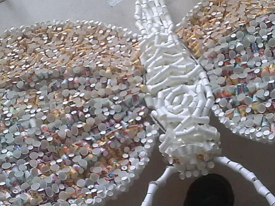 butterfly sculpture created from paper cups 2