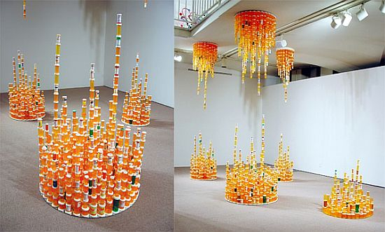 Artist creates eco friendly installation from recycled for Bottle painting materials