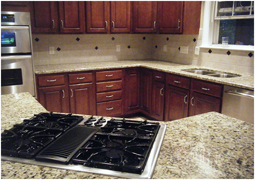 Circle or O shaped granite tile countertops