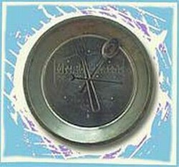 clock made of pie tin fork and spoon