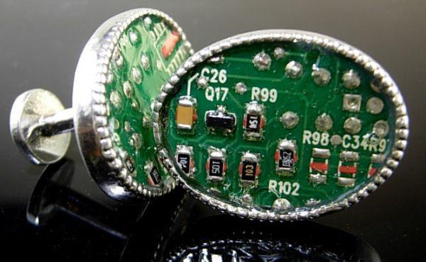 Cufflinks Recycled PC Circuit Board Geek