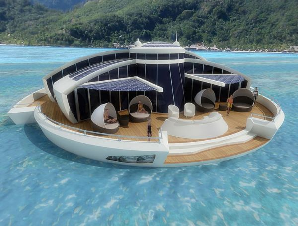 Designer conceptualizes a floating luxury resort, powered only by cheap solar cells