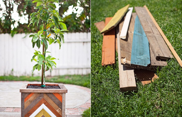 DIY Chevron-Patterned Reclaimed Wood Planter Box