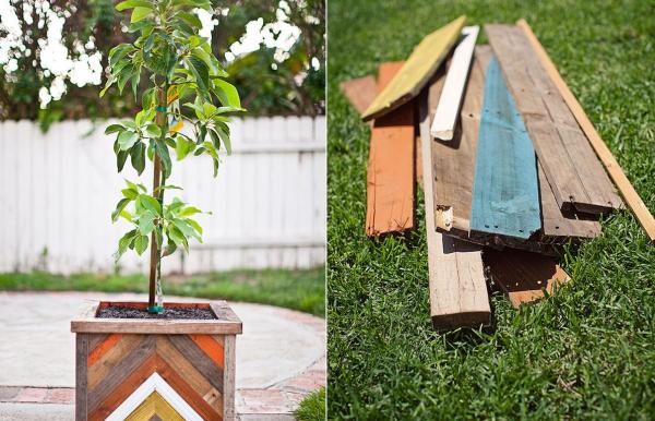 DIY Chevron-Patterned Reclaimed Wood Planter Box