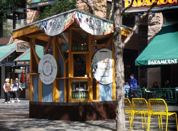 Evobean coffee kiosk adopts minimalist design for sustainability