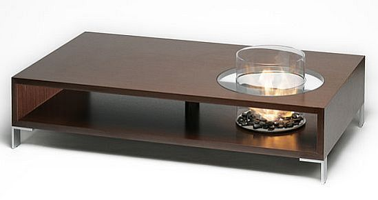 Innovative coffee table houses a built in eco friendly fireplace ecofriend Eco friendly coffee table