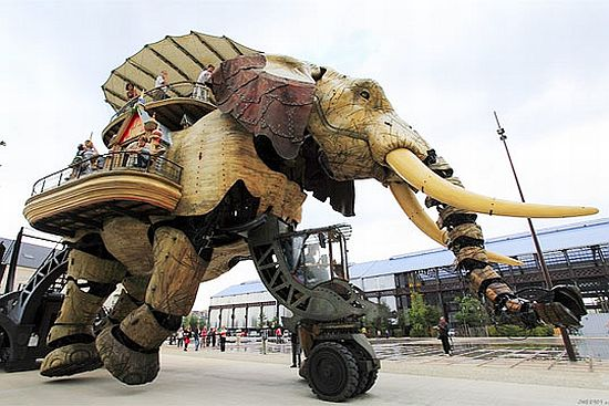 giant mechanical elephant created using recycled m