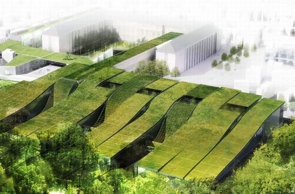 Gorgeous Green Roofed High School