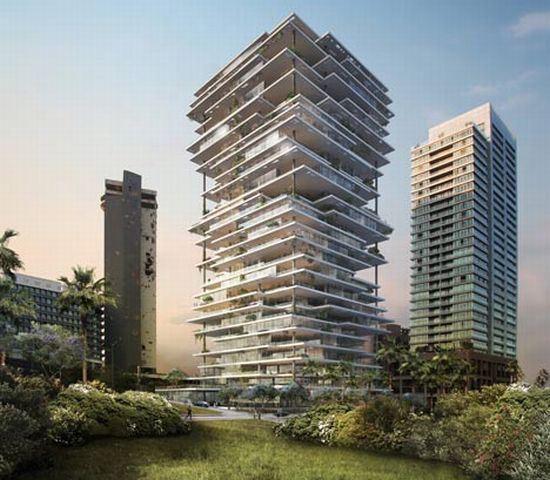 Beirut Terraces, A Green Apartment Tower With Mesmerizing