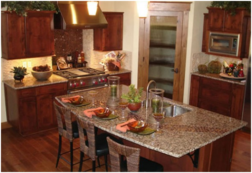 I shaped granite tile countertops