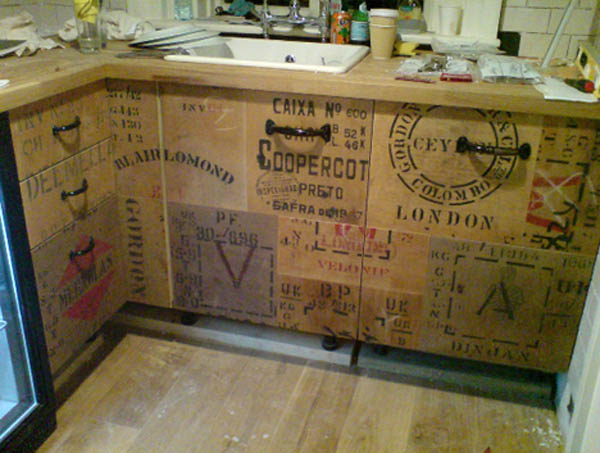 upcycled wood crate kitchen cabinets - Eco Kitchen Cabinets