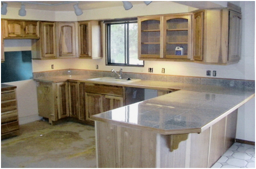 L shaped granite tile countertops