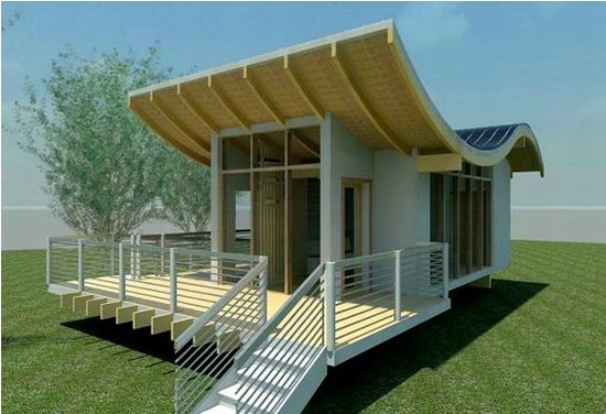 Stunning solar powered studio with unique s shaped bamboo for Solar powered home designs