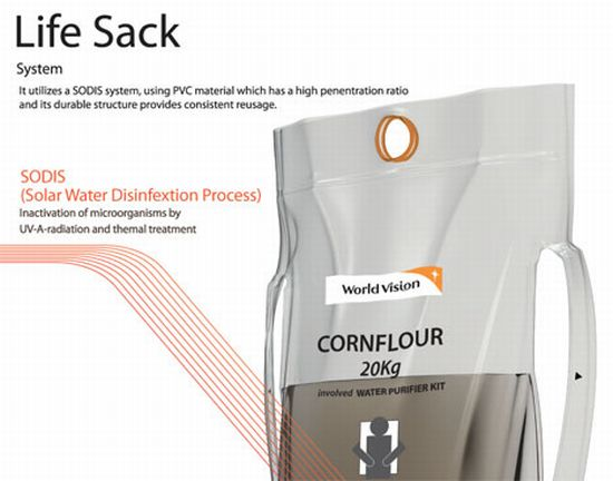 Grain sack redesigned to work as a water purifier kit