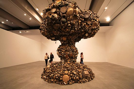 mushroom cloud sculpture by subodh gupta 1
