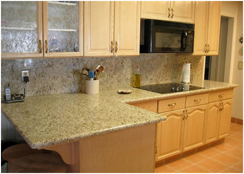 One dimensional granite tile countertops