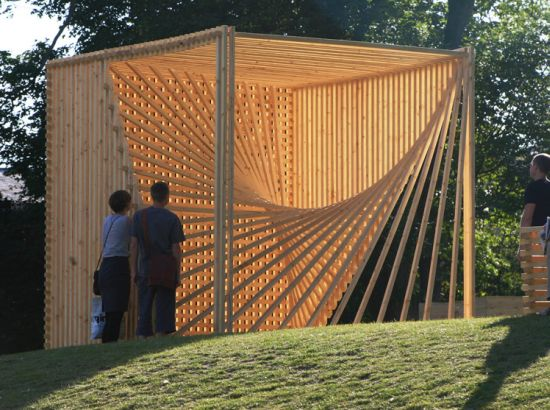 organic cube sculptural timber structure lets sunr