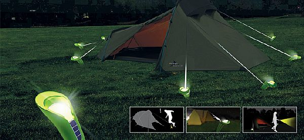 Pin Lights stake your tent and light up your campsite