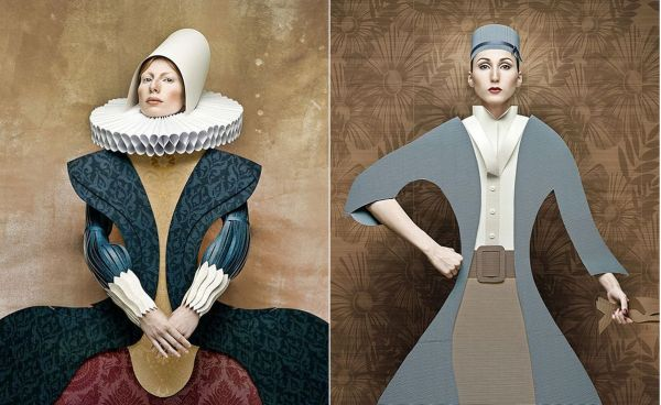 Portraits of Ladies in Cardboard Outfits