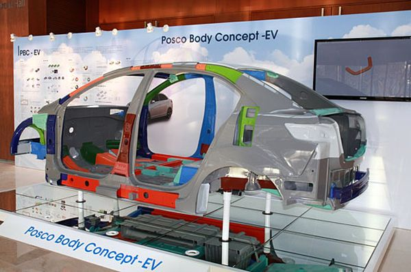 POSCO develops a new kind of steel for electric cars.