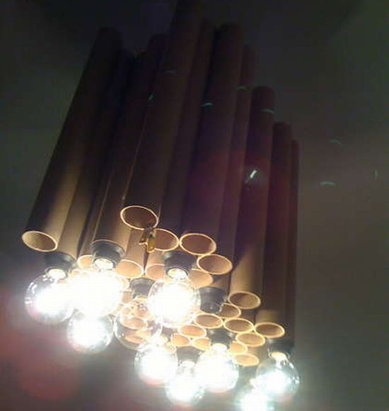 reclaimed cardboard tube chandelier 2