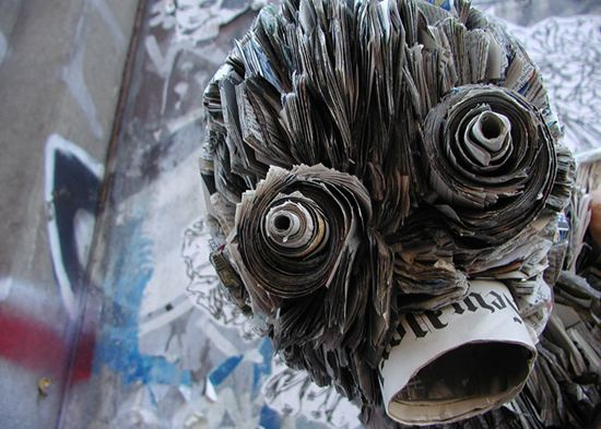recycled newspaper sculptures by nick georgiou 3