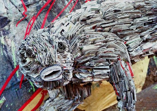 recycled newspaper sculptures by nick georgiou 7