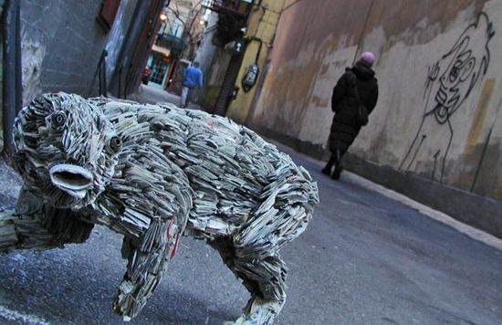 recycled newspaper sculptures by nick georgiou 8