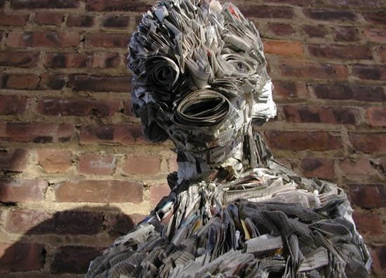 recycled newspaper sculptures by nick georgiou 9