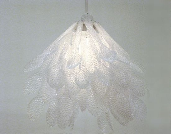 In photos chandeliers made from recycled materials for Spoon chandelier diy