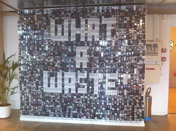 Recycled Cellphone Art Wall in Copenhagen Meatpacking District