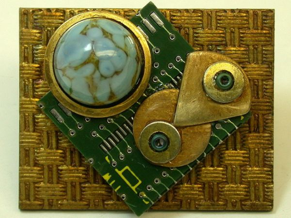 Recycled Circuit Board Vintage Glass Cab
