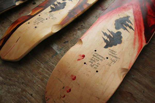 Repurposed skateboards and recycled cutting boards