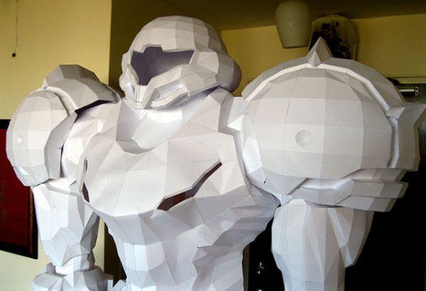 Seven-Foot Samus Aran Papercraft Sculpture