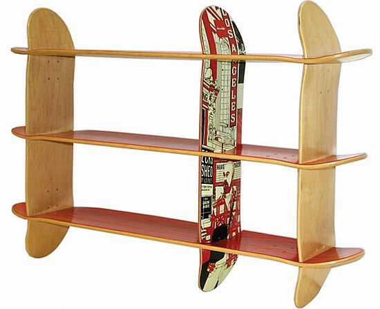 Eco Factor Interesting Bookshelves Made From Skateboards