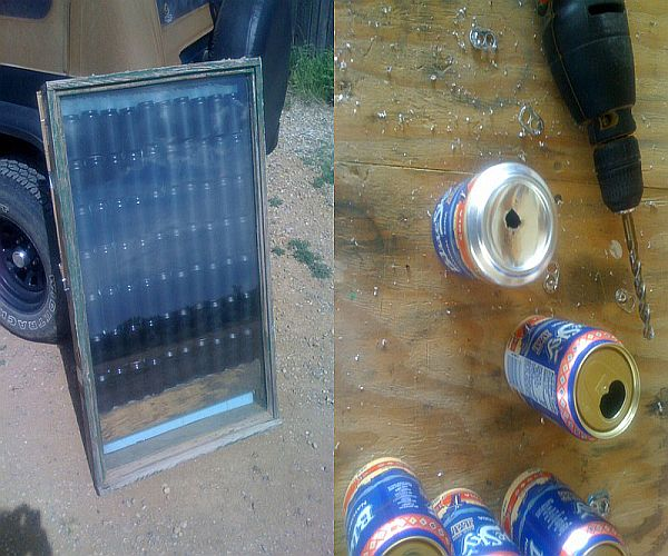 Solar Heater from recycled cans