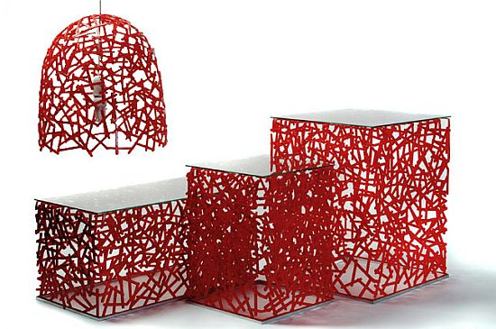 Eco arts studio verissimo designs stunning furniture from discarded coffee stirrers ecofriend Furniture made from recycled plastic